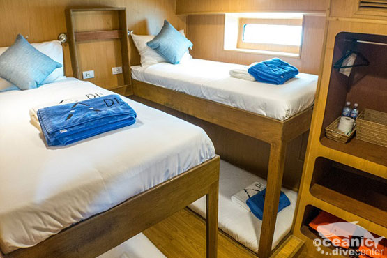 Roomy twin-share cabins can be sold as quad on special request