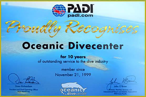 PADI 10 year award Phuket